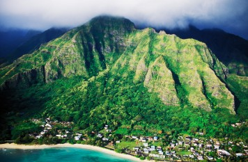Kaa'awa, Oahu, Hawaii, USA --- Koolau Mountains and Rural Town --- Image by © Mark A. Johnson/Corbis