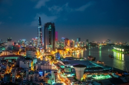 Saigon Aerial Night Skyline
